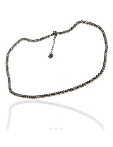 Steel: man or woman necklace with beads balls 4 mm 45 + 5 cm