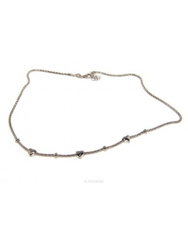 925: popcorn Ladies necklace with heart hearts and washers 43-45 cm