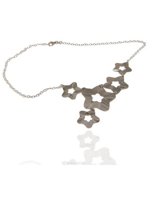 Argento 925 : Collana donna girocollo con pioggia di stelle asimetrica 45 cm regolabile