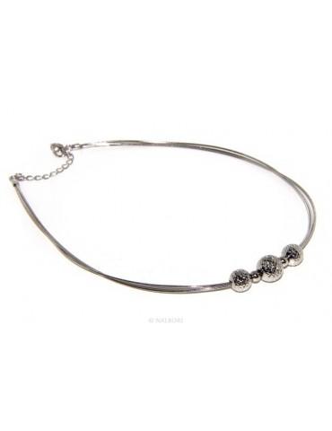 Argento 925 : Collana donna girocollo a 3 fili omega con sfere diamantate a gradazione