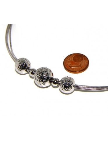 925: Women's Necklace 3-wire with omega ball diamond in shade