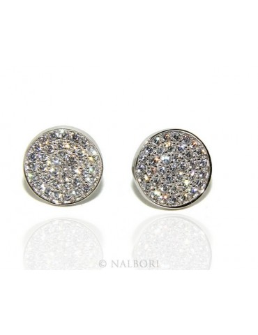 925: pair of earrings 9.5mm man woman button pavé zirconia mircosetting round