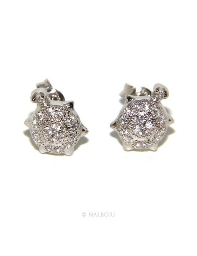 925: pair of turtle woman earrings zirconia mircosetting