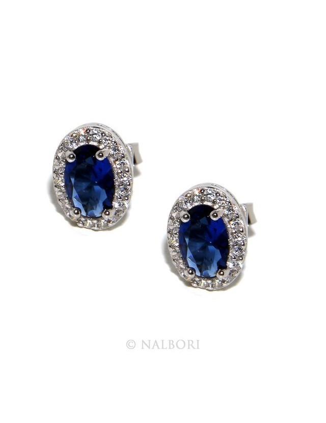 Argento 925 : orecchini donna stud bottone oval pietra zirconia cubica blu blue sapphire bluette 6x8