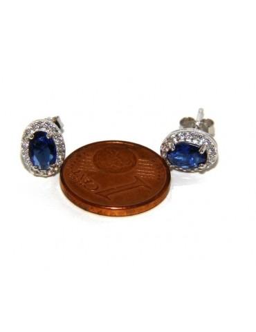 925: Women button stud earrings oval stone blue cubic zirconia blue cornflower blue sapphire 6x8