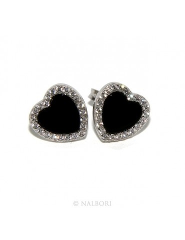 925: pair of 10mm Women's Heart Button earrings onyx circle black zirconia