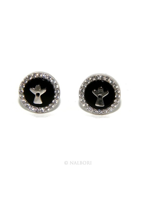 Argento 925 : coppia di orecchini 10mm uomo donna bottone onice cerchio nero pavè zirconi e angelo