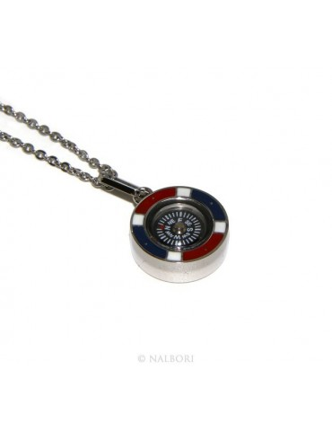 Steel: Exclusive necklace rolo 'man woman pendant french flag and compass