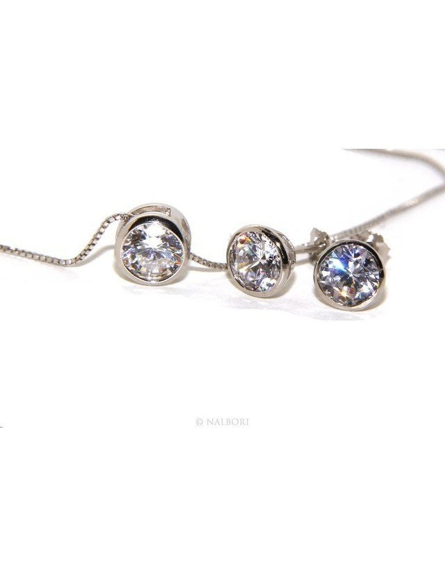 silver 925 : set earrings and chain 6 mm