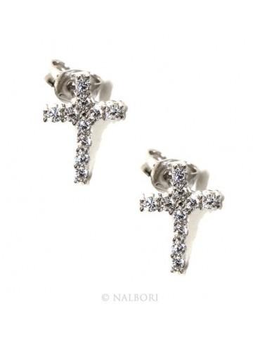 Argento 925 : orecchini uomo/donna punto luce croce pavè zircone bianco 11x8