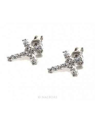 925: earrings man / woman light cross stitch white pavé zirconia 11x8