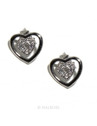 925: double heart earrings light point woman pave zircon White
