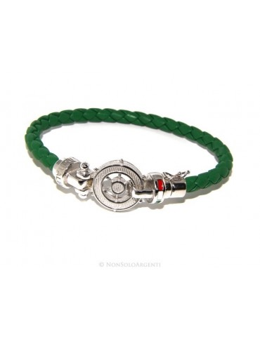 SILVER 925: big man leather bracelet with rudder and serigraphs made in italy green