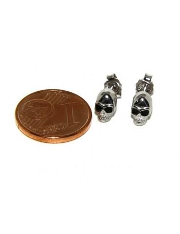 Argento 925 : coppia di orecchini microfusione molto piccoli teschi uomo donna