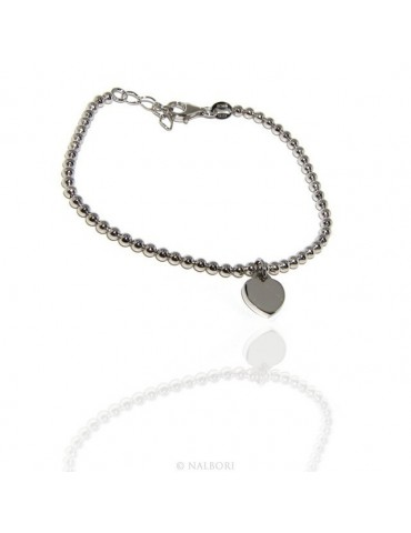 Bracelet in 925 sterling silver pendant woman balls with smooth heart pendant