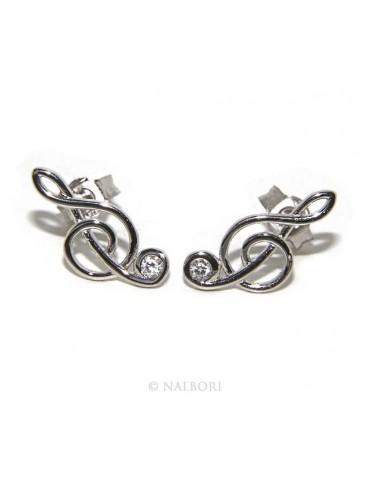 Argento 925 : orecchini donna chiave di sol violino con zircone