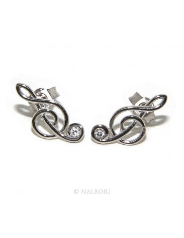 stamped 925:  treble clef,  earrings woman zk stones white color