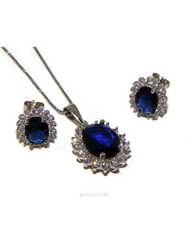 Parure argento 925 collana ciondolo orecchini donna big oval pave' zirconi e punto luce blu sapphire