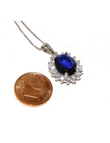 Parure 925 sterling silver pendant necklace earrings female big oval pave 'zirconia and sapphire blue light point