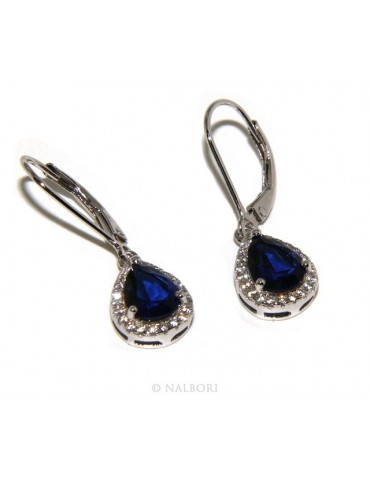 925: earrings woman light point white and blue zircon sapphire, teardrop shape and fishhook security.