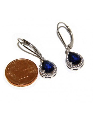 Argento 925 : orecchini donna punto luce zircone bianco e blu sapphire goccia monachella sicurezza.