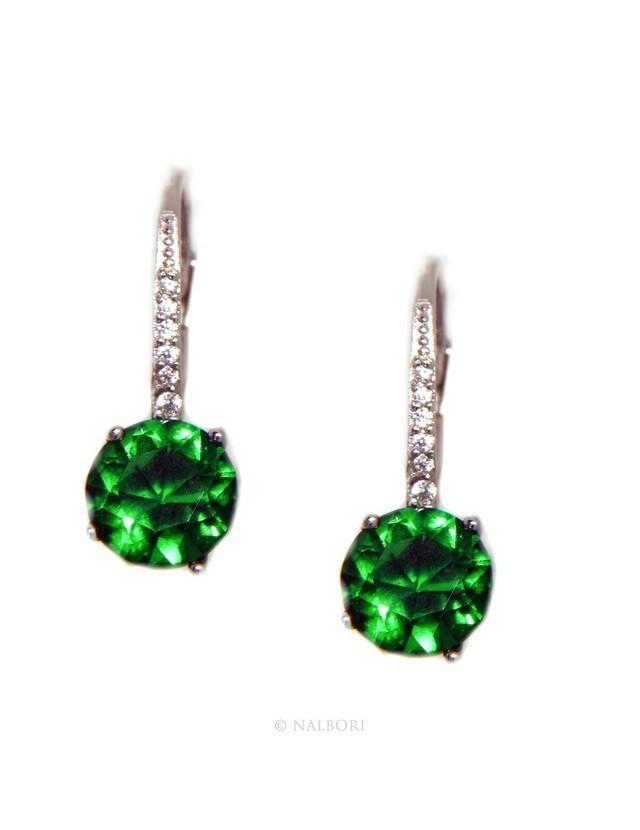 Argento 925 : orecchini donna punto luce zircone verde emerald brillante 8mm monachella sicurezza