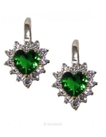 Argento 925 : orecchini donna punto luce zircone verde emerald bianco cuore monachella sicurezza
