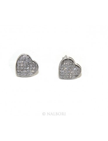 925: pair of earrings 9mm man woman button heart zirconia mircosetting