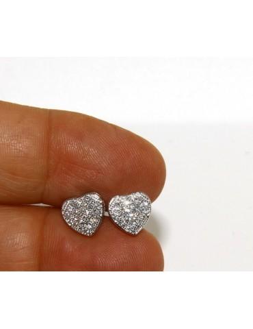 Argento 925 : coppia di orecchini 9 mm uomo donna bottone cuore pavè zirconi mircosetting
