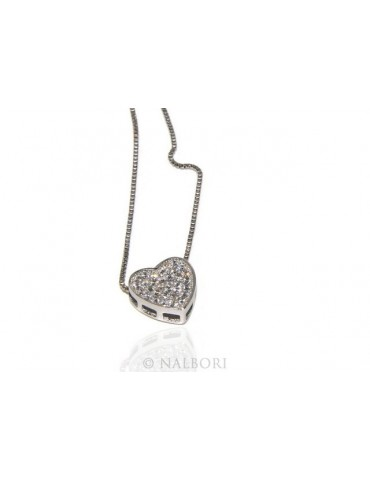925: Necklace Collier woman's heart pave cubic zirconia microsetting