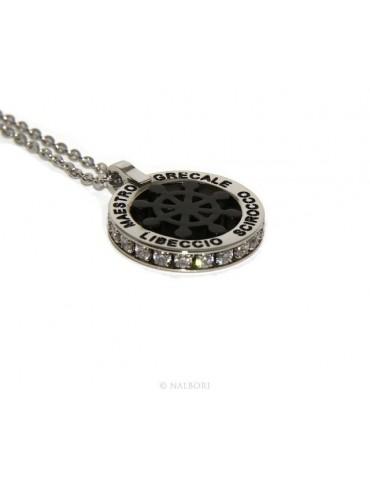 Acciaio : collana forzatina con pendente tondo timone e venti nero zirconi fumè