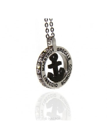 Steel: forzatina necklace with round pendant STILL and twenty black cubic zirconia
