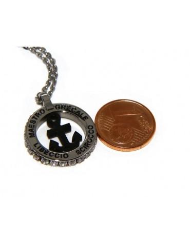 Acciaio : collana forzatina con pendente tondo ANCORA e venti nero zirconi bianchi