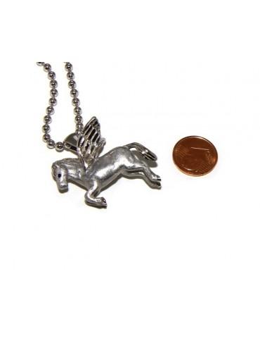ARGENTO 925 : lunga collana palline 3 mm pendente pegaso cavallo alato 3D smaltato