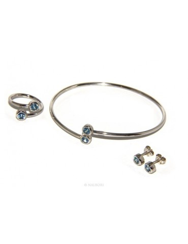 SILVER 925: Bracelet slave woman earrings natural zircons Ring brilliant blue aquamarine