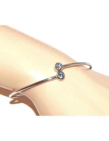 ARGENTO 925 : Bracciale donna schiava orecchini anello zirconi naturali azzurro aquamarine brillante