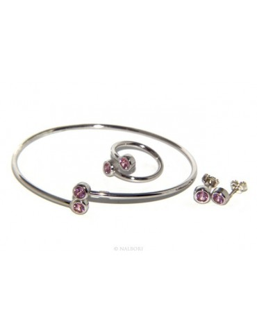 SILVER 925: Bracelet slave woman earrings natural zircons Ring brilliant pink rosaline
