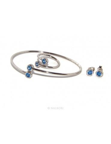 ARGENTO 925 : Bracciale donna schiava orecchini anello zirconi naturali Blu oltremare chiaro - capri blue brillante