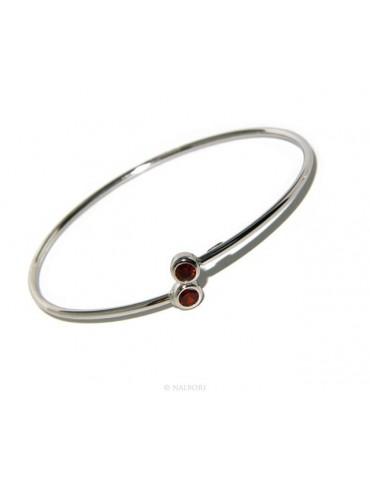 ARGENTO 925 : Bracciale donna schiava orecchini anello zirconi naturali rosso granato (ruby)  brillante