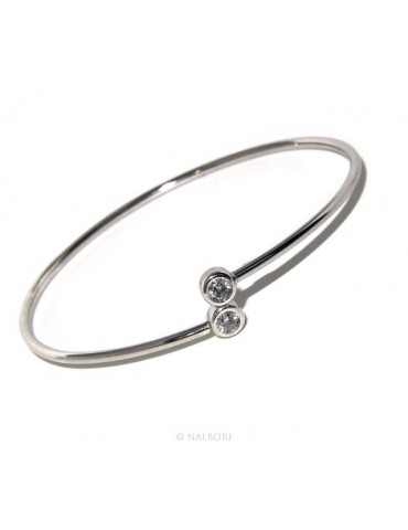 ARGENTO 925 : Bracciale donna schiava orecchini anello zirconi naturali bianco crystal  brillante