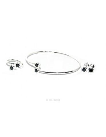ARGENTO 925 : Bracciale donna schiava orecchini anello zirconi naturali nero neri brillante