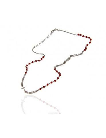 Collana Rosario uomo Argento 925 Con cristallo rosso croce e madonna miracolosa 45+5 cm