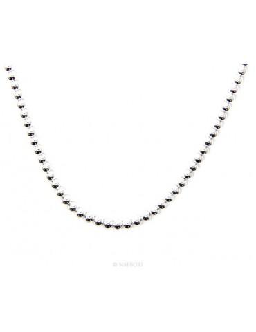 SILVER 925: balls dots Choker necklace strung balls 3.0 mm clear bleached