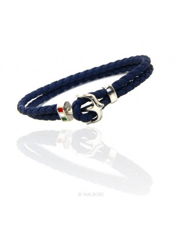 SILVER 925: massive leather bracelet man anchor made in Italy - BLUE