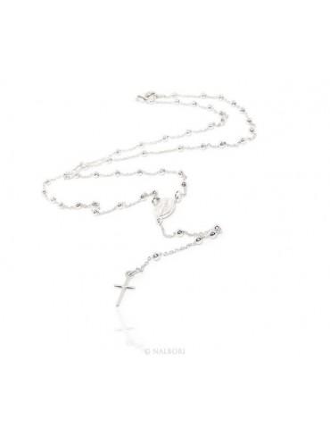 Collana rosario uomo o donna in Argento 925 palline 3 mm croce liscia chiaro