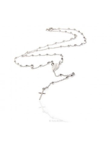 Rosary Necklace man or woman in 925 balls 3 mm Rosary Necklace man or woman in 925 balls 3 mm   cross wet white gold plating