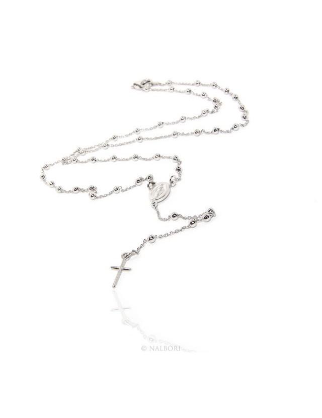 Collana rosario uomo o donna in Argento 925 palline 3 mm croce liscia galvanica oro bianco.
