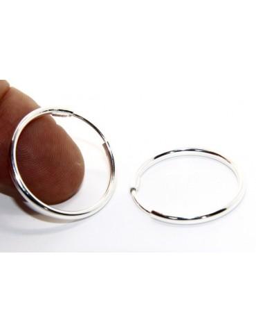 Argento 925 : orecchini donna anelle cerchi boccole lisce classiche 30 mm argento chiaro