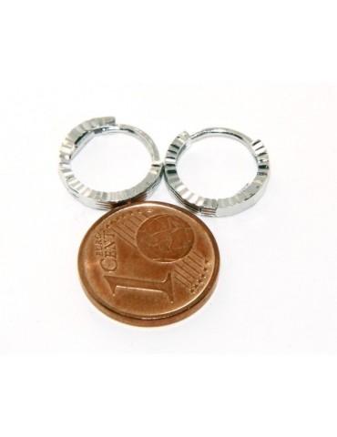 Argento 925 : orecchini massicci a scattino uomo e donna rigati geometrici 12mm (1 paio)