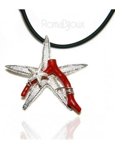 Ciondolo donna linea Capri in argento 925 con corallo naturale stella marina e laccio caucciu